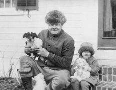 Babe Ruth and puppies